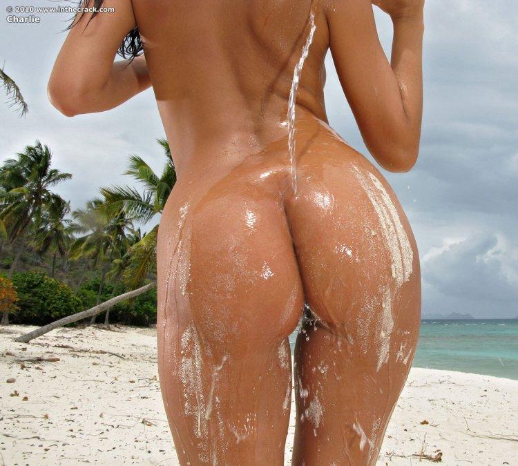 Голая брюнетка позирует на пляже
