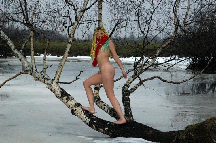 Яркая телка забралась на дерево